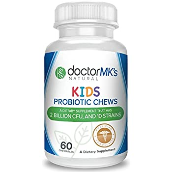 Kids Probiotics Chewable by Doctor MK's®, Sugar Free Animal Shapes, Tastes Like Candy, Natural Wild Berry Tablets, Vegetarian / Vegan, Kosher Certified