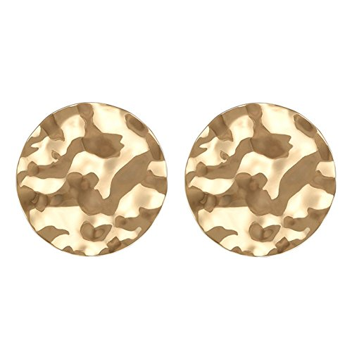 (Lureme Vintage Hammered Disc Earrings for Women and Girls-Gold (er005951-1))