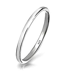 925 Sterling Silver Ring High Polish Plain Dome Tarnish Resistant Comfort Fit Wedding Band 2mm Ring by BRC Creative Corp.