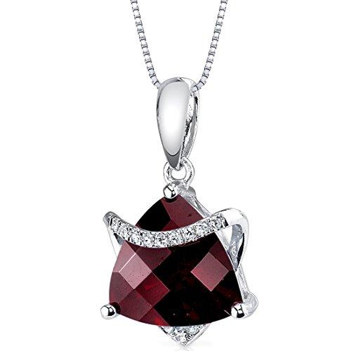 (14 Karat White Gold Trillion Cut 3.15 carats Garnet Diamond Pendant)