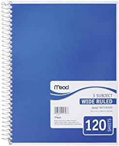 Mead Spiral Notebook, 3-Subject, Wide-Ruled, COLOR MAY VARY (05746)