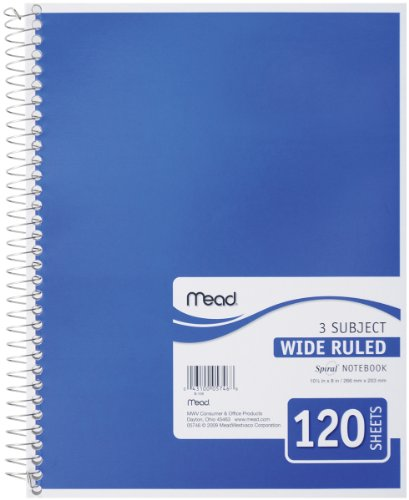 043100057468 - Mead Spiral Notebook, 3-Subject, Wide-Ruled, COLOR MAY VARY (05746) carousel main 0