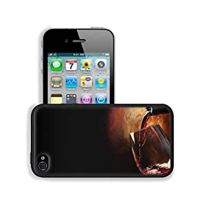 Bottles Wine Glass Red Drink Apple iPhone 4 / 4S Snap Cover Premium Leather Design Back Plate Case Customized Made to Order Support Ready 4 7/16 inch (112mm) x 2 3/8 inch (60mm) x 7/16 inch (11mm) MSD iPhone_4 4S Professional Cases Touch Accessories Graph