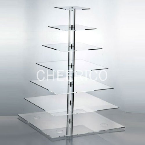 7 Tier Large Square Pole Wedding Acrylic Cupcake Stand Tree Tower Cup Cake Display (Cupcake Stands For 150 Cupcakes compare prices)