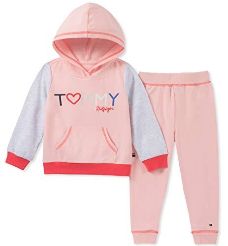 Tommy Hilfiger Baby Girls 2 Pieces Jog Set, Crystal Rose/Heather Gray 12M