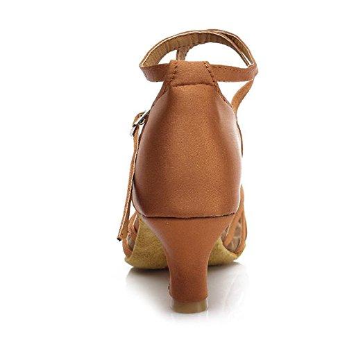 HROYL Zapatos de baile/Zapatos latinos de satén mujeres ES7-F17 5CM Marrón