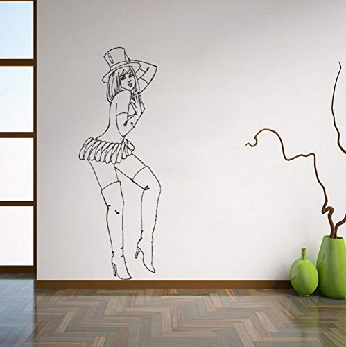 Dalxsh Retro Pin Up Girl Wall Decals Beautiful Woman Wall Sticker for Bedroom Removable Art Mural Home Decoraion 21x59cm]()