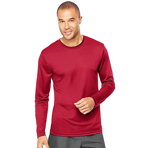 Hanes Cool DRI'Performance mens Long-Sleeve T-Shirt,Deep Red,XX-Large