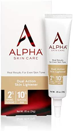 Alpha Skin Care Dual Action Skin Lightener   Anti-Aging Formula   2% Hydroquinone & 10% Gycolic AHA   Diminishes Dark Spots   Reduces the Appearance of Lines & Wrinkles   For All Skin Types   0.85 Oz