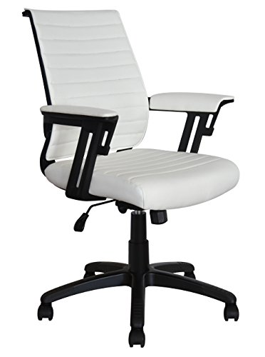 Executive Contemporary Office Chair - Ribbed vegan leather seat - Ergonomic back support - Dual heavy duty lever and tensioner - Supports up to 265 Pounds Body Weight (Backrest, White) (Tensioner Lever)