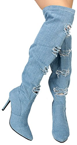 Alexia 7 Womens Distressed Ripped Denim Pointy Toe Thigh High Boots Light Blue 9