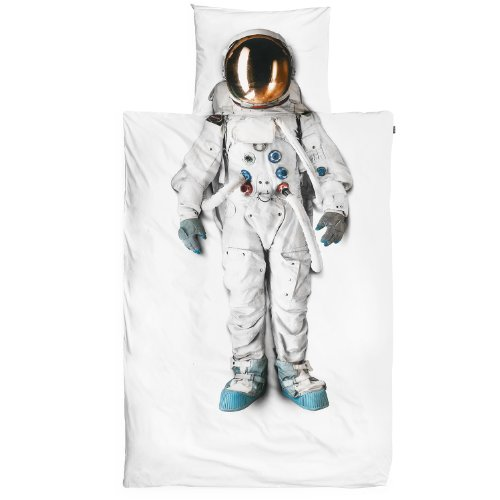 Snurk Duvet Cover Set Duvet Cover with Matching Pillowcase - 100% Cotton Duvet Cover and Pillow Case Set for Kids - Soft Cover Bedding for Your Little One - Life Size Astronaut for Twin-Size Beds
