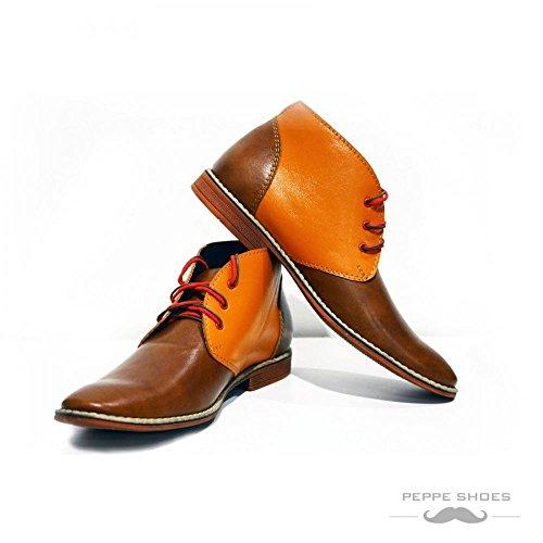 PeppeShoes Modello Moderno - Handmade Italiano da Uomo in Pelle Arancia Chukka Boots - Vacchetta Pelle Morbido - Allacciare