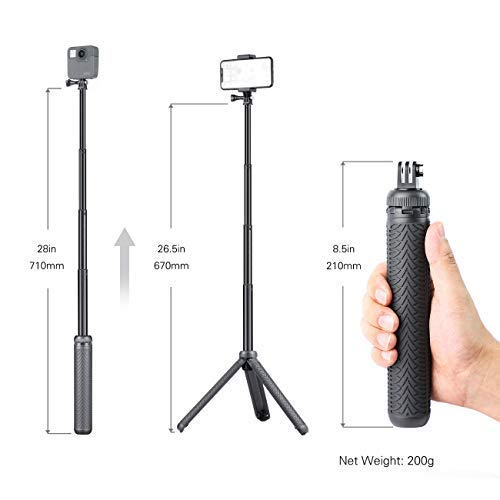 SOONSUN 3-in-1 Aluminum Telescoping Selfie Stick Monopod Pole Handheld Grip with Tripod Stand for GoPro Hero Fusion/7/6/5/4/3+/3/2018/Session, AKASO, SJCAM Cameras and Cell Phones