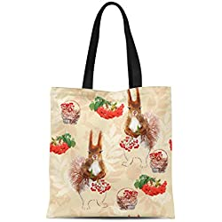 Semtomn Canvas Tote Bag Red Forest Squirrel and Berries Graphic Pattern Animal Basket Durable Reusable Shopping Shoulder Grocery Bag
