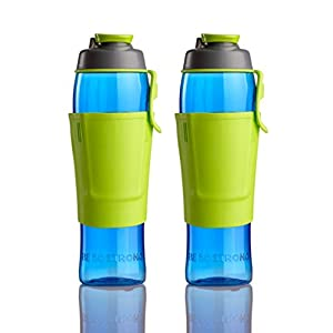 50 Strong Tritan BPA FREE Water Bottle 30oz with Credit Card & Cash Storage Pocket (2-Pack) (Lime)