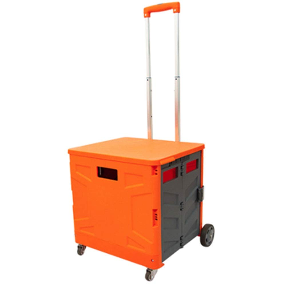 Color : Orange Gray, Size : M WPCBAA Four-Wheel Folding Shopping cart Trolley 3 Section Adjustment Trolley 65L Large Capacity Bearing Heavy Luggage cart