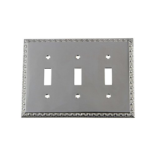 Nostalgic Warehouse 719904 Egg and Dart Switch Plate with Triple Toggle, Bright Chrome