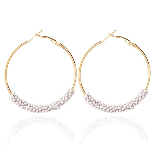 Dcfywl731 Bohemian Circle Colorful Beaded Earrings,CHUYUN Gold Plated Hoop Dangle Earrings for Girls (White)