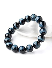 Jan Dee Natural Genuine Semi-Precious Blue Tiger's Eye Hawk-Eye Crystal Bracelet