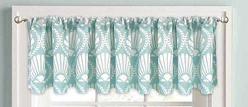 Nautical Seashells Geometric Elites Window Valance, Aqua ...