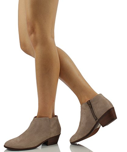 Soda Womens Round Toe Faux Suede Stacked Heel Western Ankle Bootie Ankle Bootie