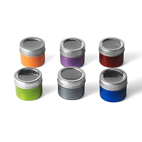 Kamenstein 12pc Magnetic Spice Jar Tin & Clear Lid on Fridge/Grill (Large Image)