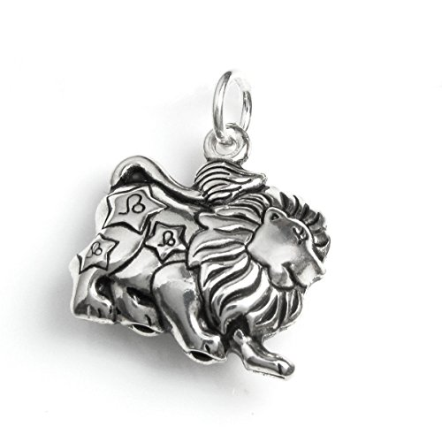 Leo Charm Pendant (Dreambell 925 Sterling Silver 3D Leo Zodiac Horoscope Star Sign Dangle Charm Pendant)