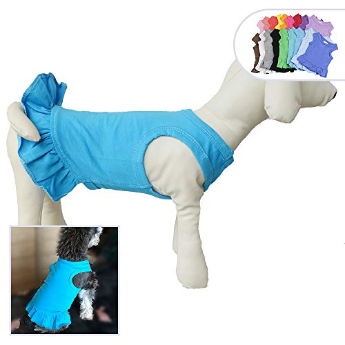 (Pet Clothes Small Dog Clothing Blank Color Sport Dress T-Shirts Tee Dresses Tanks Top for Small Size Female Dogs Summer Spring Pet Costumes 100% Cotton (XL,)
