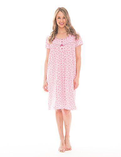 Knit Gown - Pink Lady Womens Knee Length Sleepshirt Loungewear (Barley Pink Butterfly, X-Large)