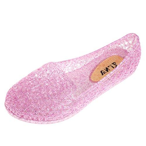 Sandalias Zapatos De Jalea Respirables Pisos Brillo Dorado Ahuecan Hacia Fuera De Verano Playa Para Mujeres Púrpura