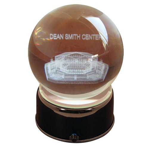 NCAA North Carolina Tarheels Dean Smith Arena Etched Lit Musical Turning Crystal Ball (Ball Crystal Stadium Etched)
