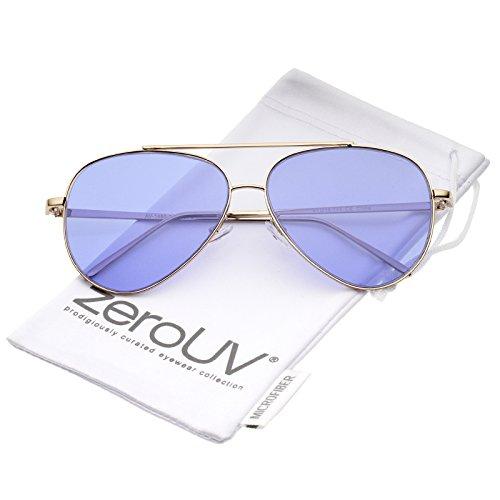 zeroUV - Retro Metal Frame Double Nose Bridge Color Flat Lens Aviator Sunglasses 60mm (Gold / - Blue Sunglasses Aviator Tinted