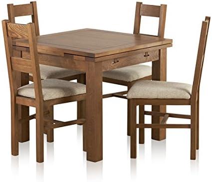 Oak Furniture Land Juego de Comedor de Roble Macizo rústico para ...