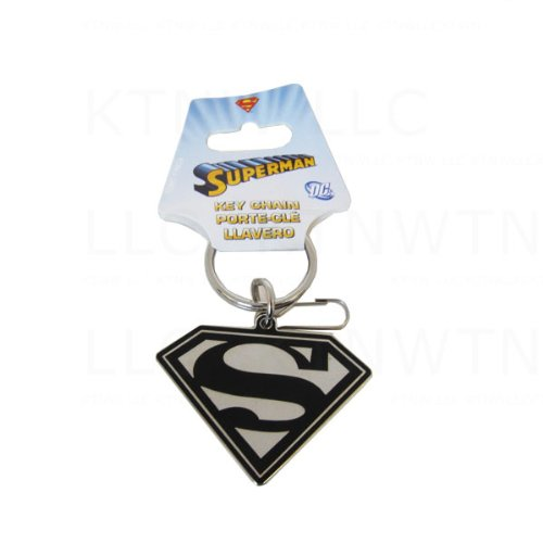 DC+Comics Products : Metal Keychain Featuring Classic DC Comics Logo in Black and Silver - Superman