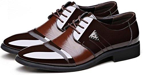 HYLM Men's Business Zapatos de cuero Pointed Lace zapatos de boda de gran tamaño Oxford Casual Shoes Brown