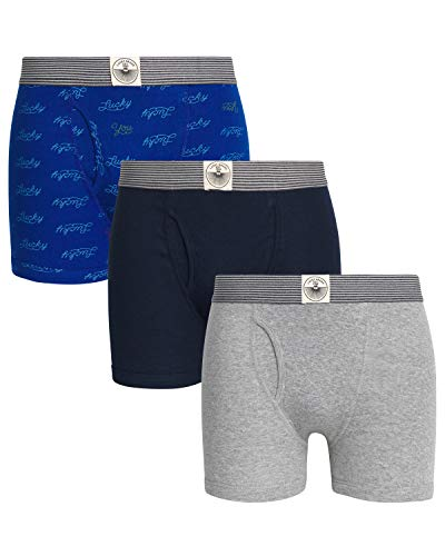 Lucky Brand Men\'s Cotton Boxer Briefs Underwear with Functional Fly (3 Pack), Blue/Blue Print/Heather Grey, Size Large'