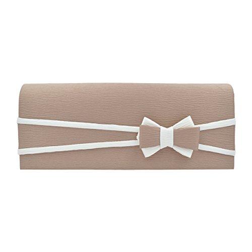 (Premium Matte 2-Tone Bow Front Flap Clutch Evening Bag, Khaki)