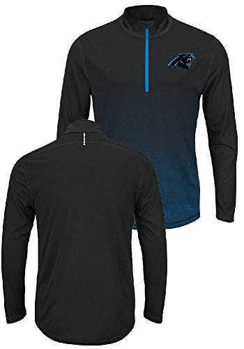 Carolina Panthers Intimidating Half Zip Pullover Synthetic Windshirt (X-Large) (Official Windshirt Mens)