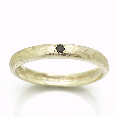 Black diamond engagement ring set in a hammered sterling silver band