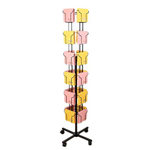 (Amelie AI Creative CD Display Stand with Roller A5 Magazine Storage Rack 360° Rotating Iron Removable (Color : Black))