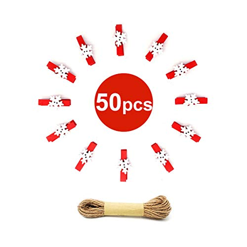50PCS Christmas Wooden Clothespins, Mini Snowflake Photo Clips, Mini Wooden Pegs with 10 Meters Jute Twine for Hanging Christmas Cards Photo Paper - Cards Christmas Photographs
