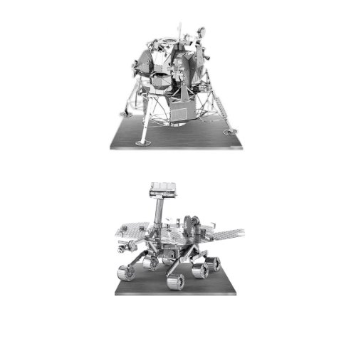 Metal Earth 3D Laser Models Spacecraft Set of 2 - Mars Rover, Apollo Lunar Module (2 Model Set)