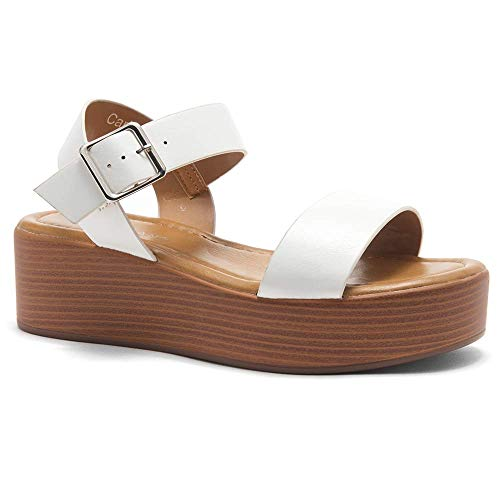 Herstyle Carita Women's Open Toe Ankle Strap Platform Wedge Sandals White/Wood 6.5