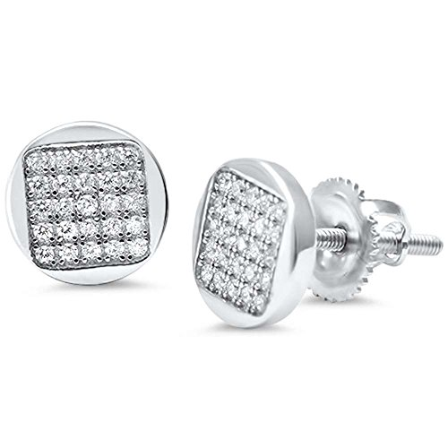 Sterling Silver Round Micro Pave Button Style Earrings