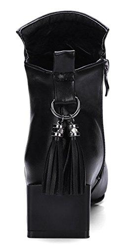 Tassels Black Heels Square Chunky With Aisun Women's Mid Short Stylish Toe Booties BqOOPwxvUn