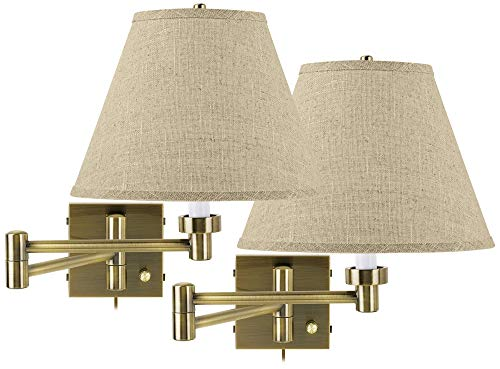 Set of 2 Antique Brass Empire Shade Swing Arm Wall Lamps - Barnes and -