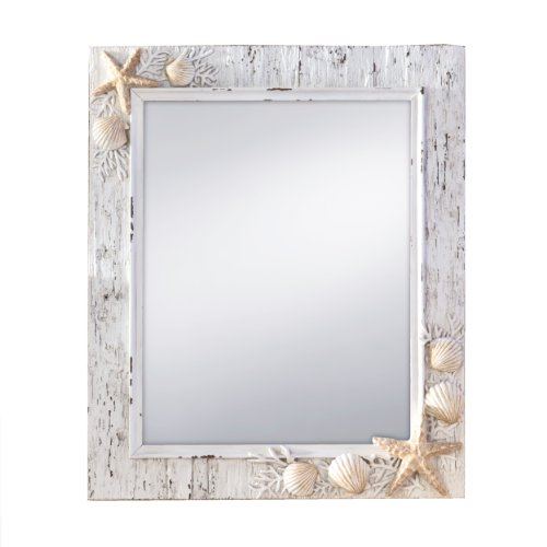 Prinz Sand Piper Mirror with Resin Border and Seashells and Starfish Accents (Nautical Mirrors)