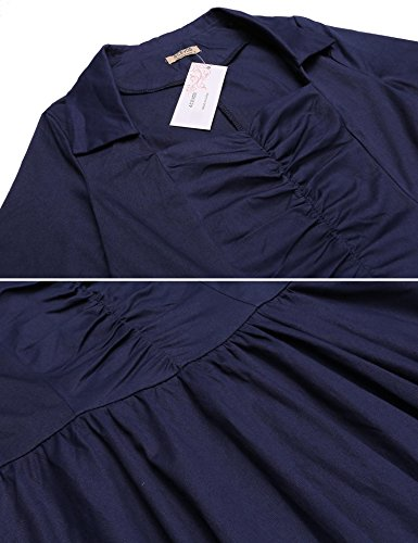 Swing Women's Pleated Belt Waist dark Vintage Long Party With Cocktail ACEVOG Dress Blue Sleeve A dqwXxR