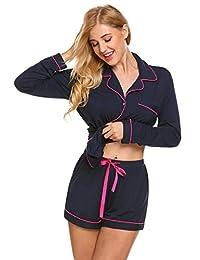 Ekouaer Pajamas Women's Long Sleeve Short Pants Sleepwear Soft Pj Set S-XXL